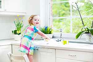 Girl Washing Dishes